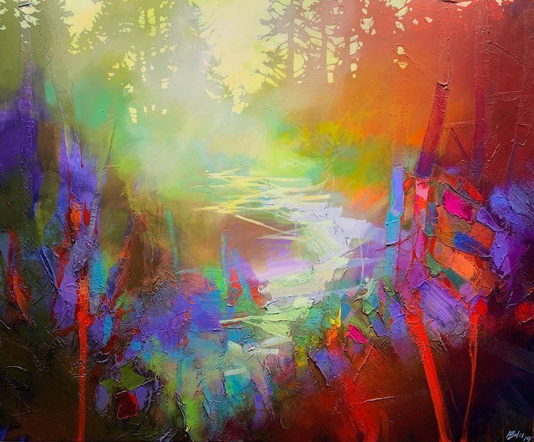 Ethereal Landscape Paintings Evoke The Abstract Beauty Of Morning Light In The Mountains In 2020 Abstract Abstract Floral Paintings Colorful Abstract Painting