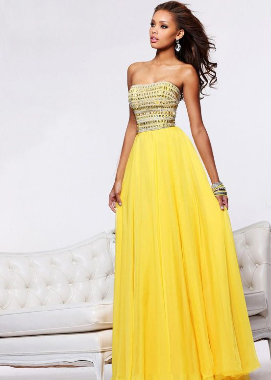 Long yellow bridesmaid dresses ejn dress for Yellow wedding dresses for sale