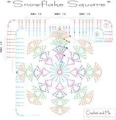 Snowflake Granny Square  Crochet  Crochet square