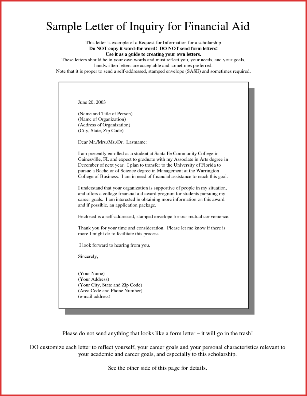 Financial Aid Award Letter Sample