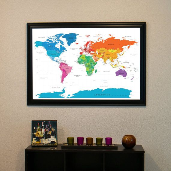 Colorful world push pin travel map with pins and frame 24x36 dream colorful world push pin travel map with pins and frame 24x36 gumiabroncs Images