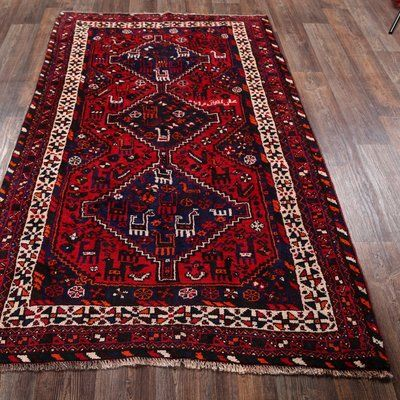 Clair Southwestern Gray Area Rug Red
