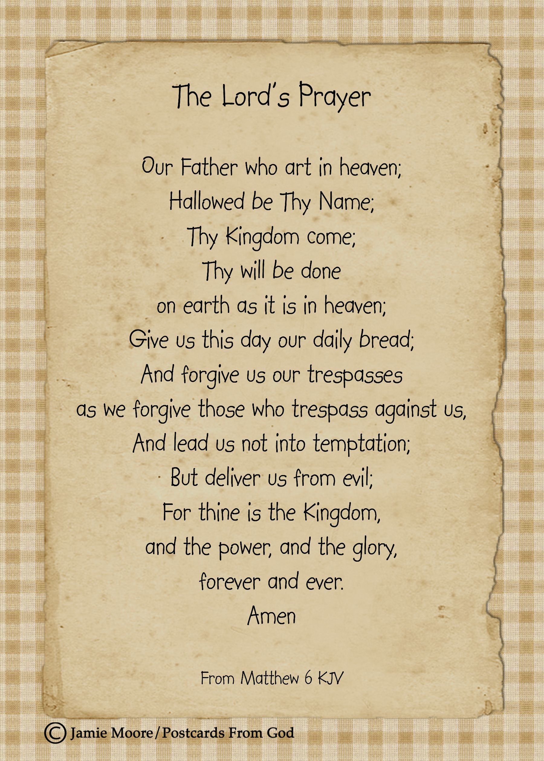 Our Father who art in heaven, hallowed be Thy Name.  www.facebook.com/PostcardsFromGod