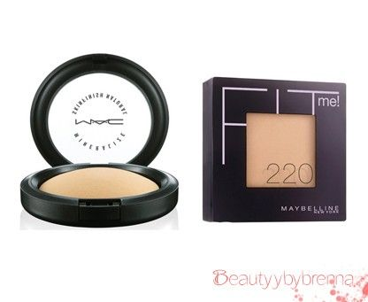 MAC Skin Finish vs Maybelline Fit Powder: Everyone loves this MAC skin finish powder, I know I do but since Maybelline came out with the Fit foundation (loveeee) and the corresponding powder, it has made life cheaper my friends! MAC sells this powder for $30.00 while Maybelline sells theirs for $7.00. They both have a nice satin, semi-matte finish to the skin which is perfect! Not to shiny not to flat!