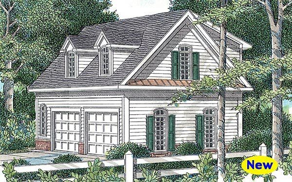 Cape Cod Style 2 Car Garage Apartment Plan Number with 1 Bed 1 Bath