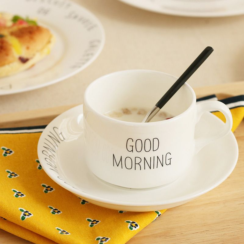 Click To Buy  Good Morning Letter Printed Bone China Ceramic