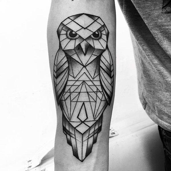 80 Geometric Owl Tattoo Designs For Men Shape Ink Ideas Geometric Owl Tattoo Owl Tattoo Design Geometric Owl