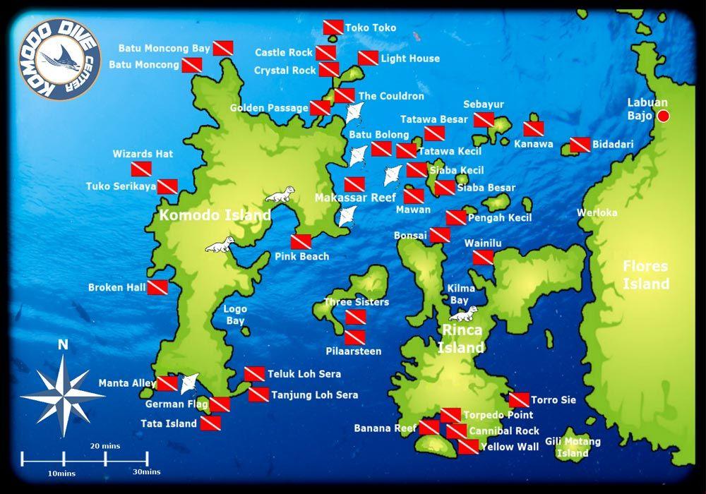 Indonesia Diving Map Komodo Dive Sites Map | Indonesia | Diving, Komodo, Scuba diving