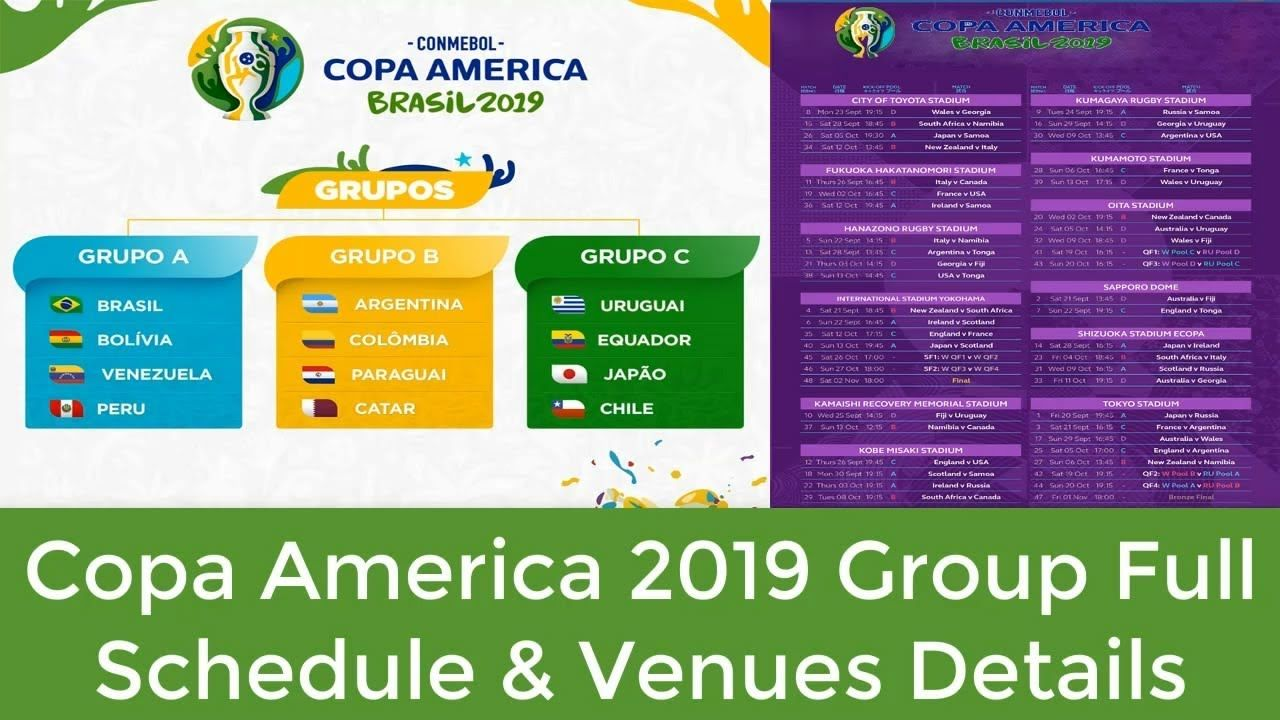 Copa America 2019 Group Full Schedule Venue Details Check Here 2022 Fifa World Cup America Uefa European Championship