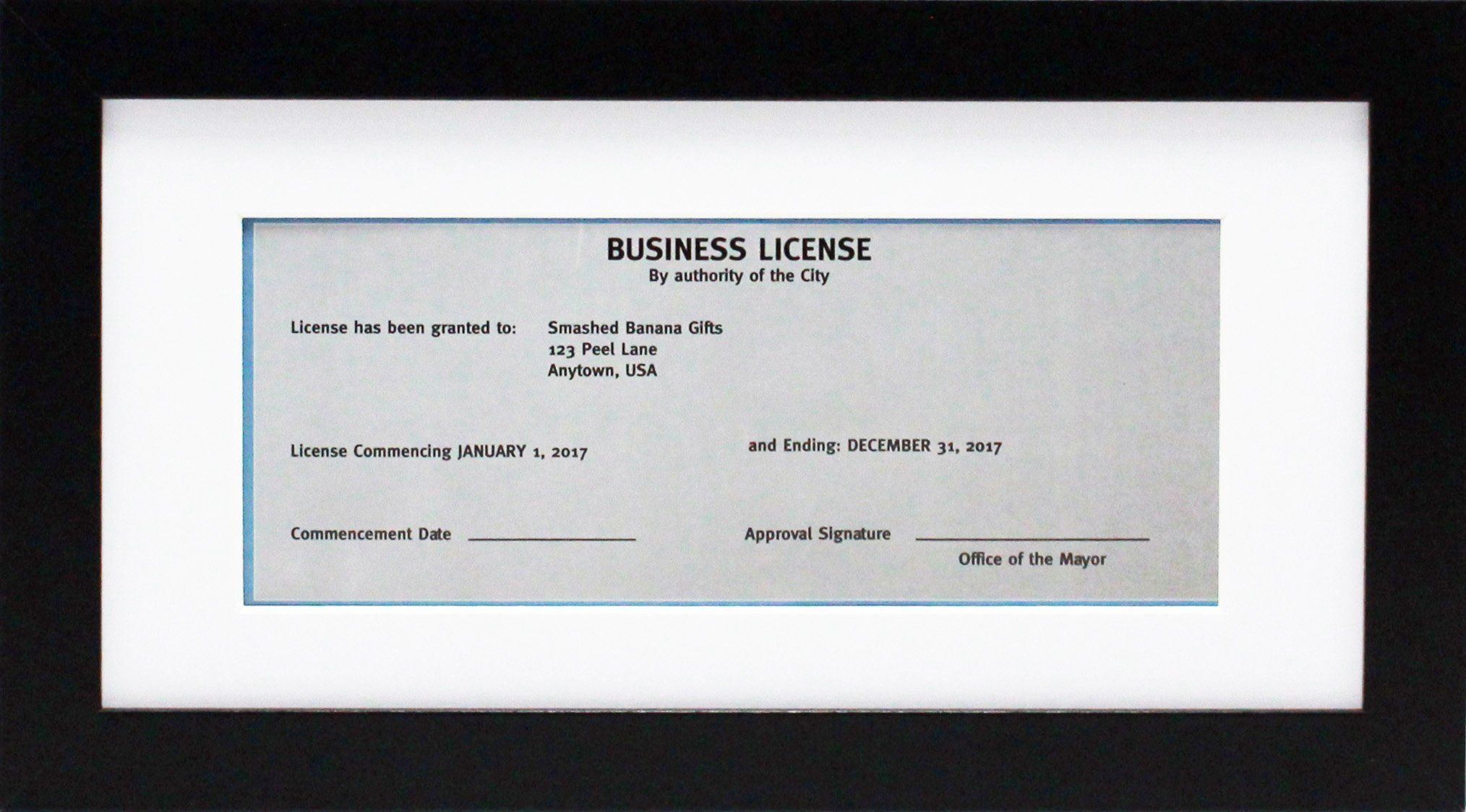 5x10 Black Gallery Business License Frame with 3.5x8 Mat Wide ...