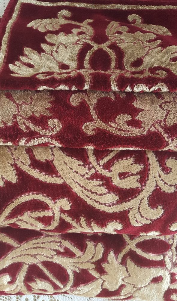 Terrisol Karsten 4 Pc Bath Towel Set Burgundy Gold Damask Hand