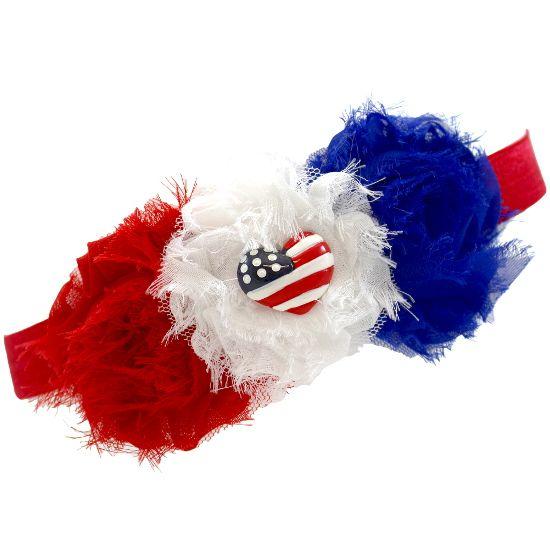 Red, White & Blue Patriotic Shabby Chic Headband