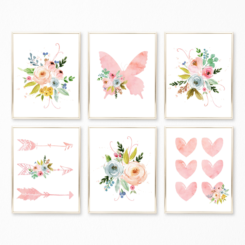 3a4122416fd10 Printable Watercolor Floral Nursery Art. Floral Nursery Decor. Boho ...