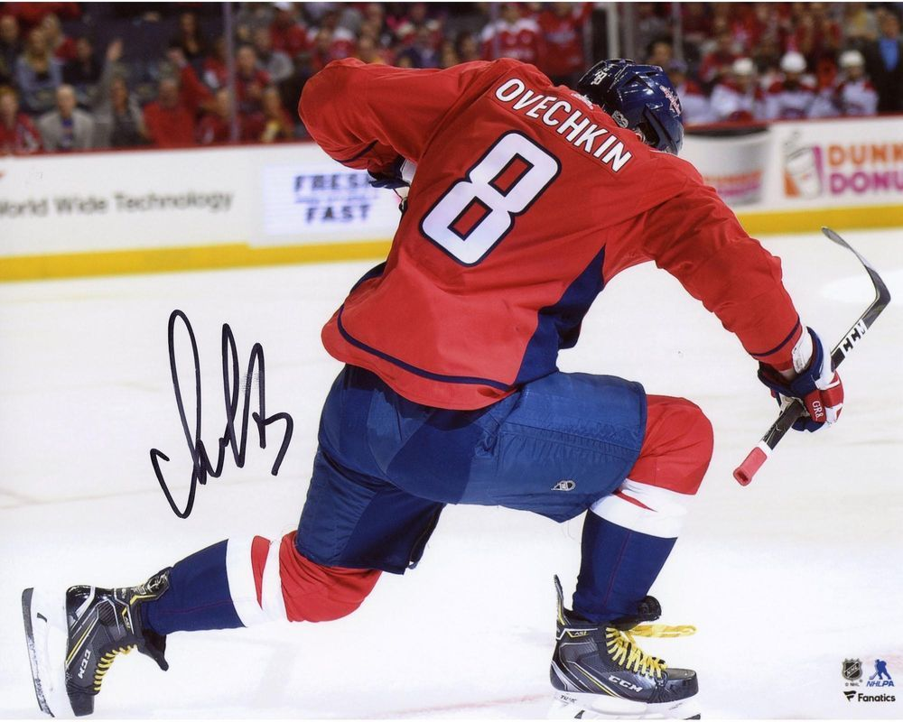 Alex Ovechkin Capitals Signed 8x10 Red Jersey Goal Celebration Photo ... 42c2ff73b