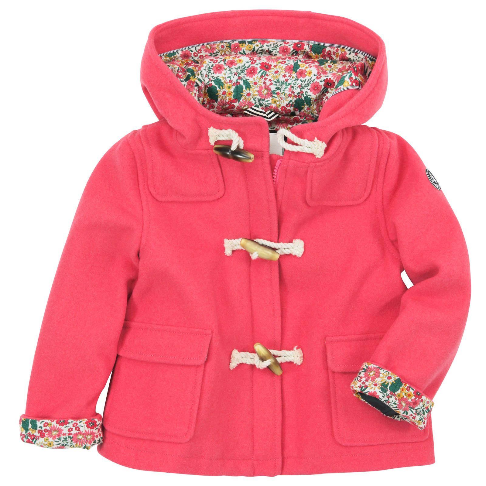 Petit Bateau Coral woollen cloth duffle coat Coral - 49745 ...