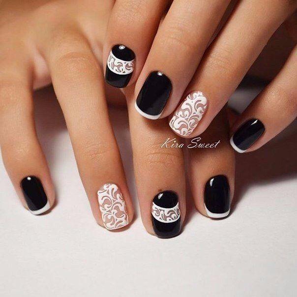 23 фото черный френч красивый дизайн ногтей 2016