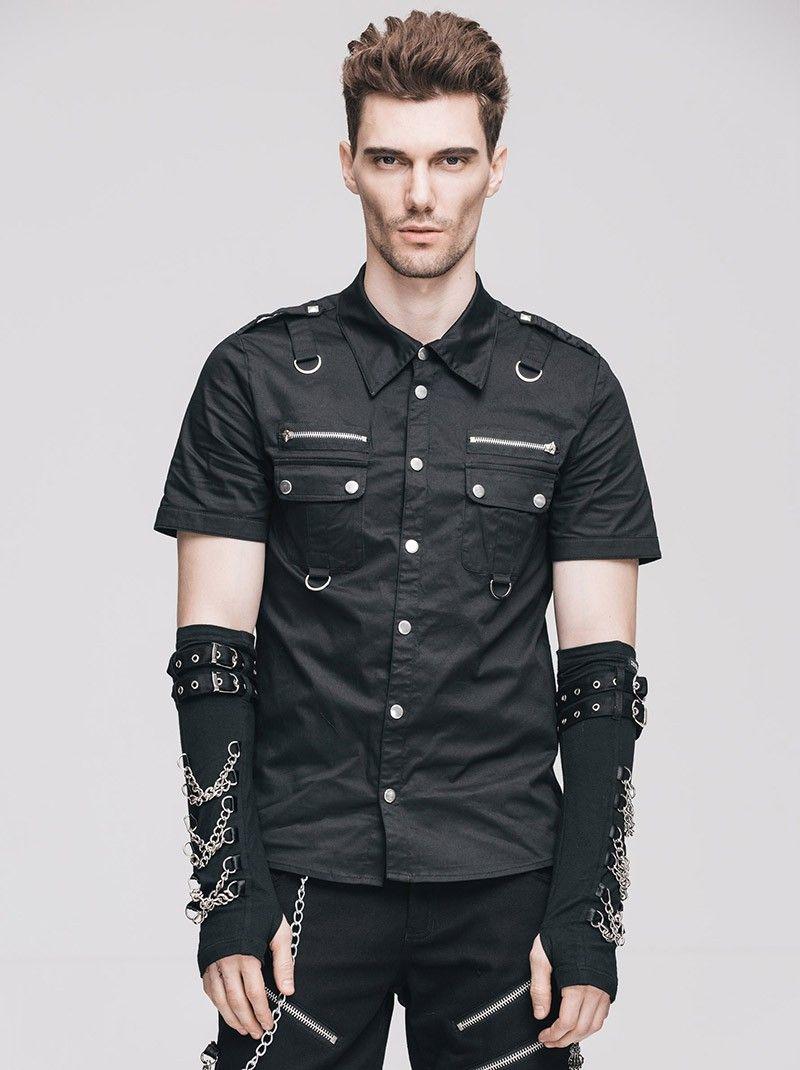 Summer punk fashion men shortsleeved black shirts Готика