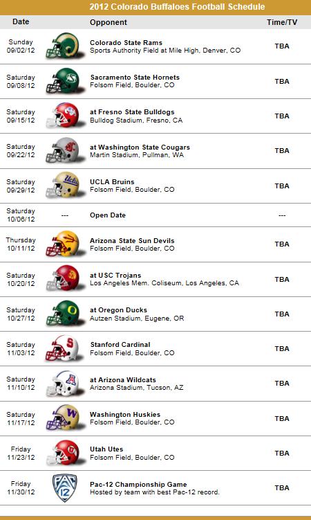 Colorado Buffaloes 2012 Football Schedule Navy