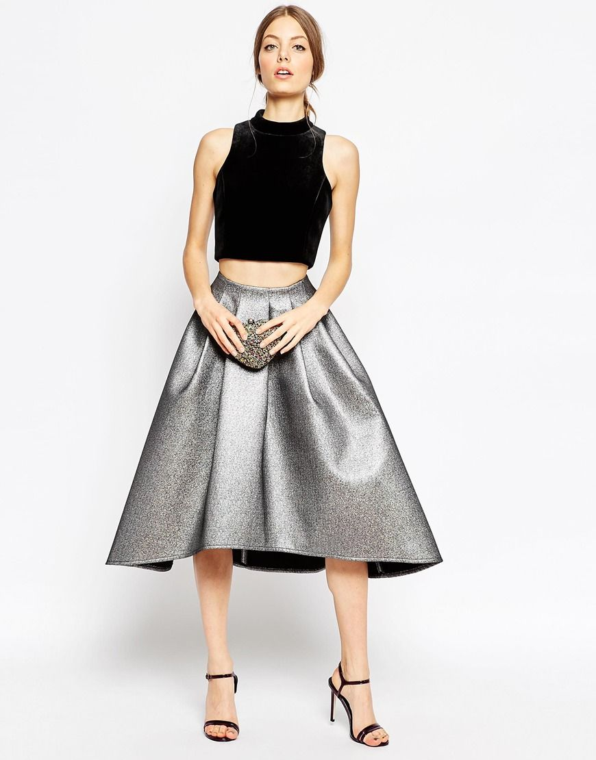 Image 1 of ASOS Full Midi Skirt in Metallic with Dip Back ...
