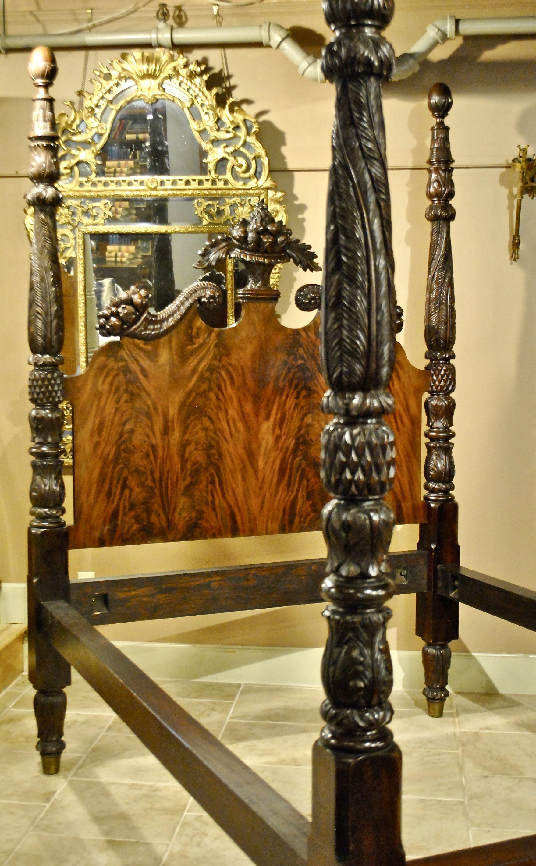 Ornate Acanthus Leaf Carved Bed
