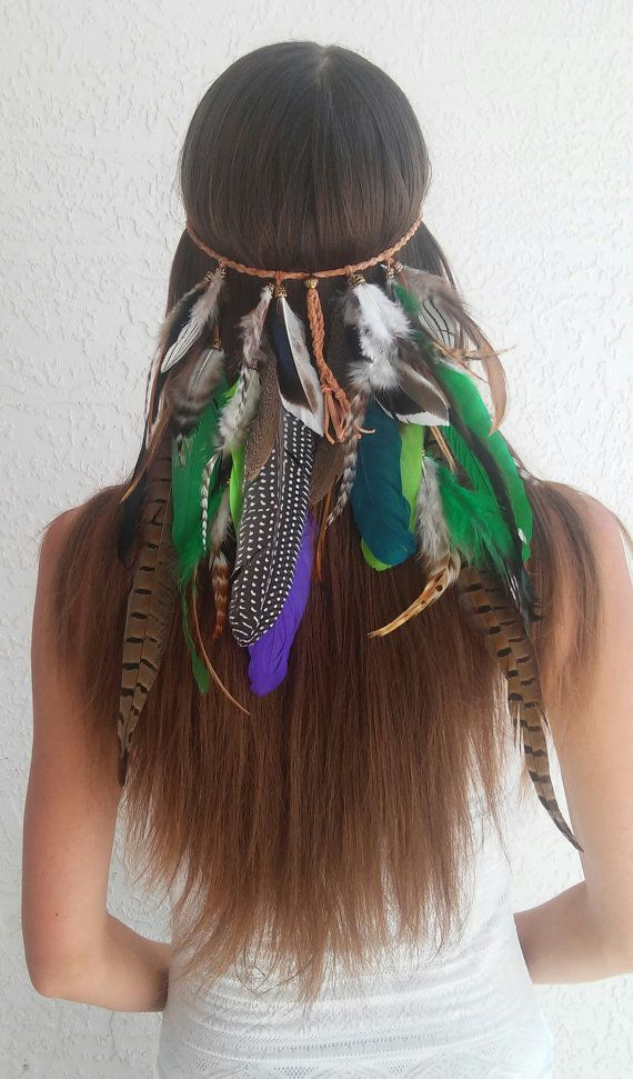 Rainforest Feather Headband Native American Indian Tribal Bohemian Hippie Hair Band