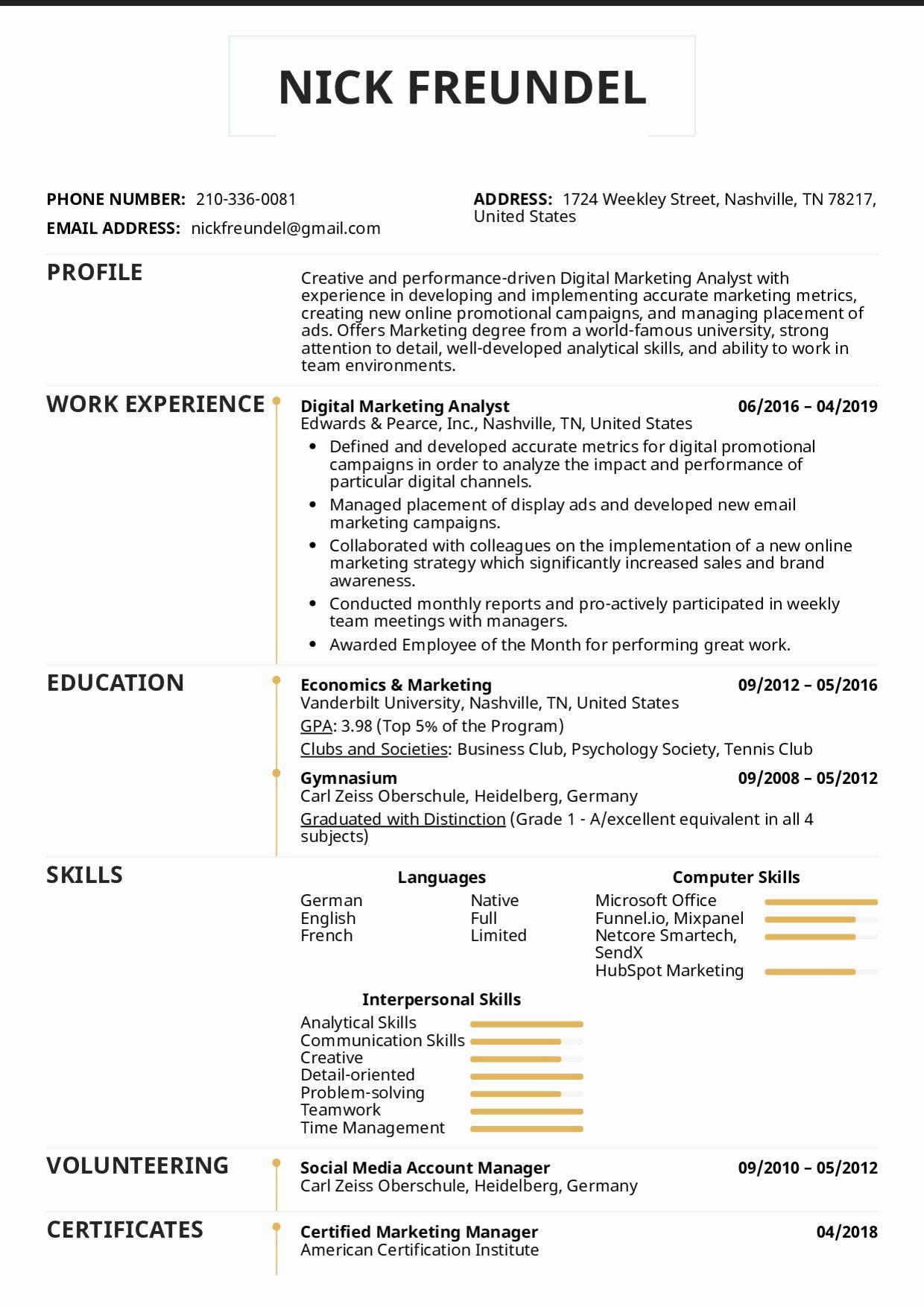 Digital Marketing Resume Sample Elegant Resume Examples By Real People Digital Marketing Analyst Marketing Resume Resume Examples Registered Nurse Resume
