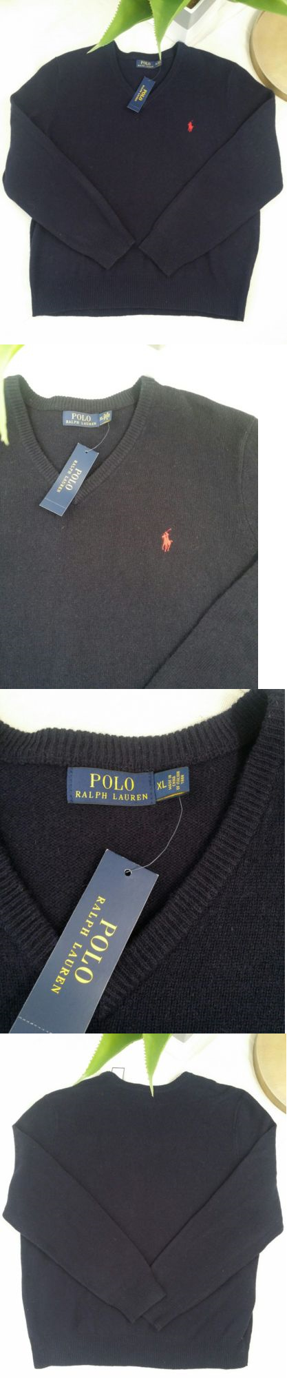 Sweaters 11484: Nwt Polo Ralph Lauren 100% Italian Yarn Sweater Cashmere V Neck Navy Blue Xl -> BUY IT NOW ONLY: $59.99 on eBay!