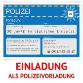 Einladungskarte als Polizeivorladung - Blau