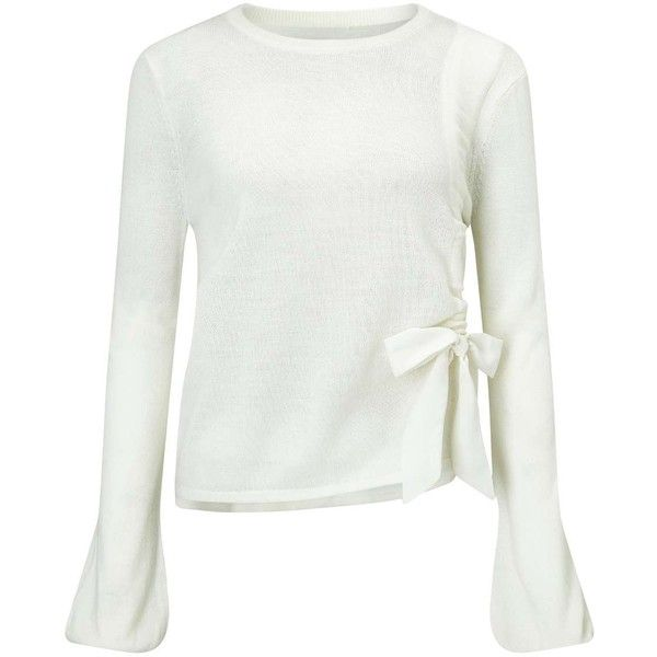 8c15bfd29d8 Miss Selfridge Ruched Bow Knitted Jumper ($29) ❤ liked on Polyvore  featuring tops, sweaters, cream, shirred top, miss selfridge, white top, ...