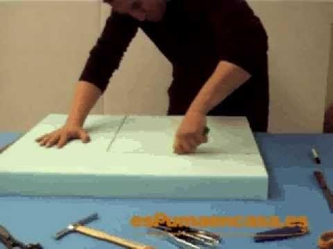 C mo cortar una pieza de espuma tapizados de muebles - Espuma para tapizar sillas ...