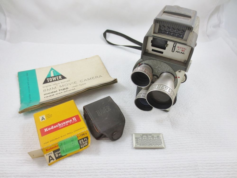 vintage model t 185 tower 8mm video camera w kodak accessories rh pinterest co uk Kodak Camcorders On Sale Kodak Waterproof Camcorder