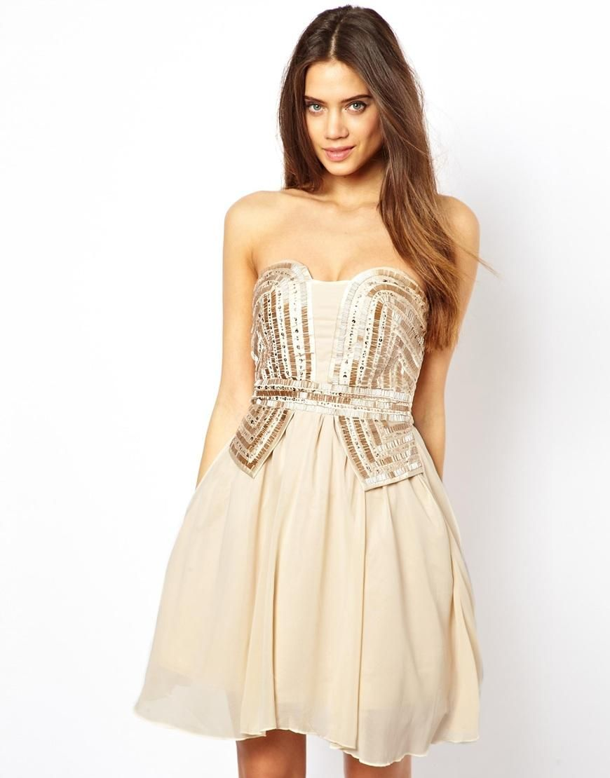 Little mistress little mistress bandeau embellished prom dress at