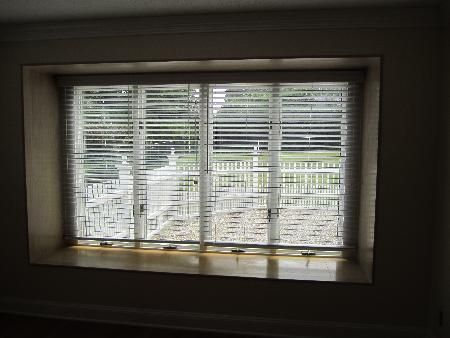 Large Windows Can Be Expensive And Difficult To Cover Faux Wood Blinds Were An Excellent Choice For This Set Of Four Cat