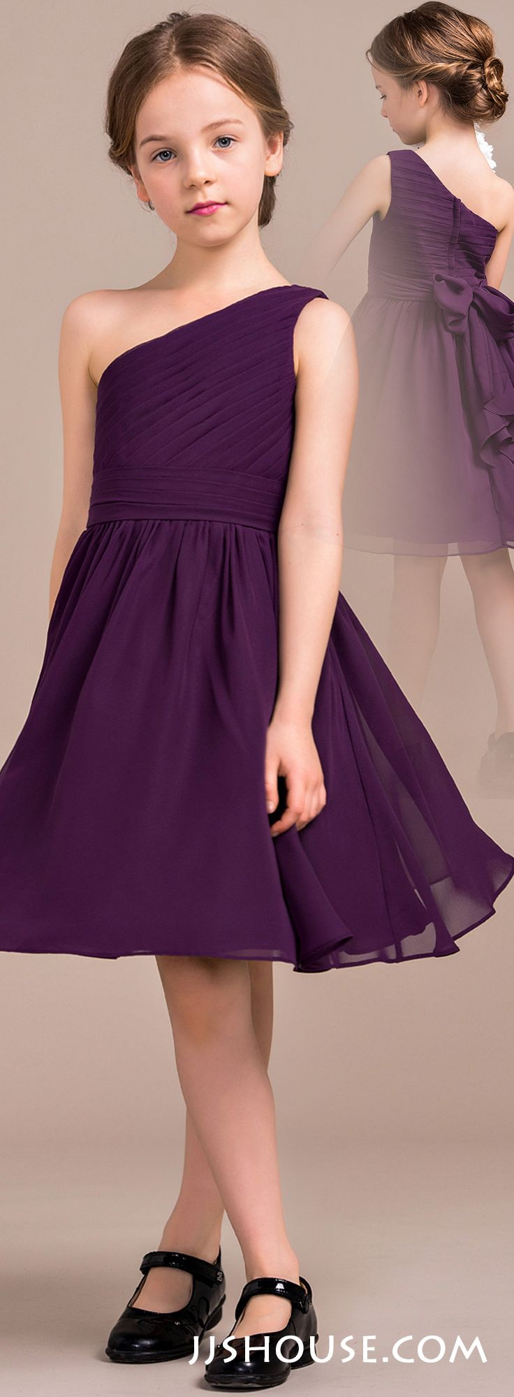 A nice choice for your junior bridesmaids it is the right mix of a lineprincess one shoulder knee length chiffon junior bridesmaid dress with ombrellifo Choice Image