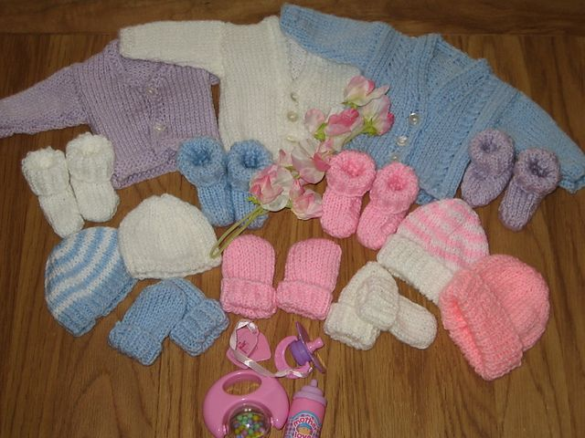 Premature Baby Hat Cardigan Booties Mitts 2lb 4lb