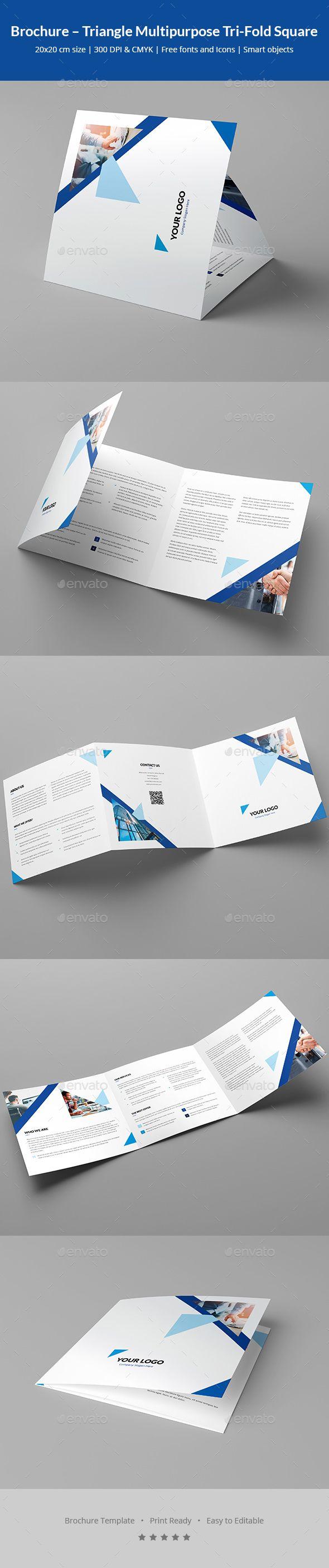 Brochure Triangle Multipurpose Tri Fold Square Brochure Template