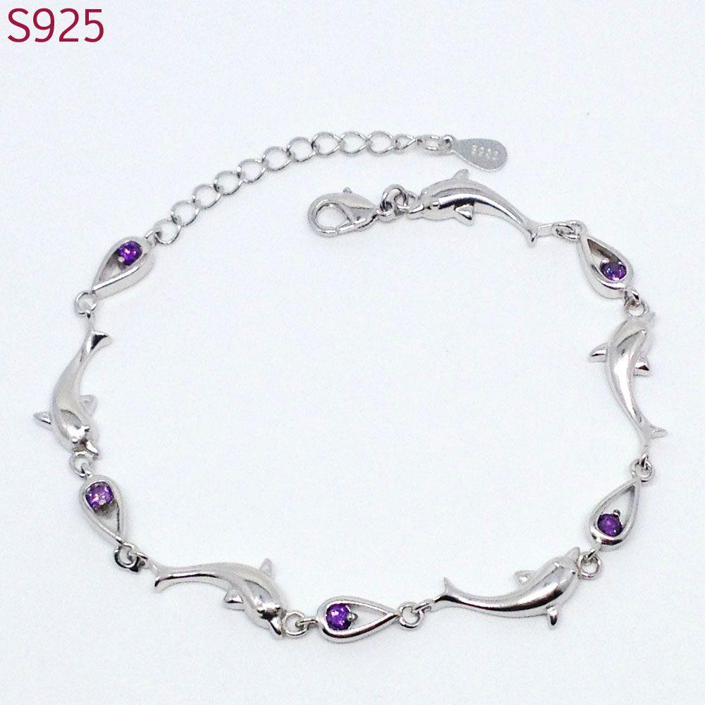 White Purple Dolphin Women Real Pure Solid 925 Sterling Silver Bracelets  Bangles Fine Jewelry Amethyst Austrian