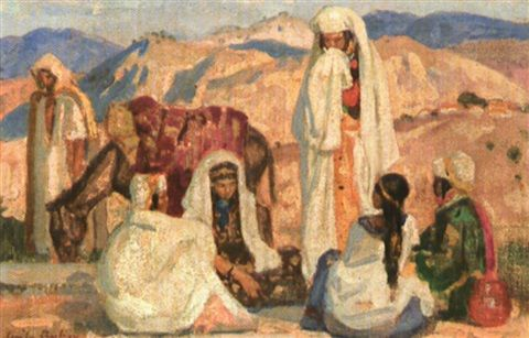 Peinture Algérie - Femmes au marché par Emile Aubry