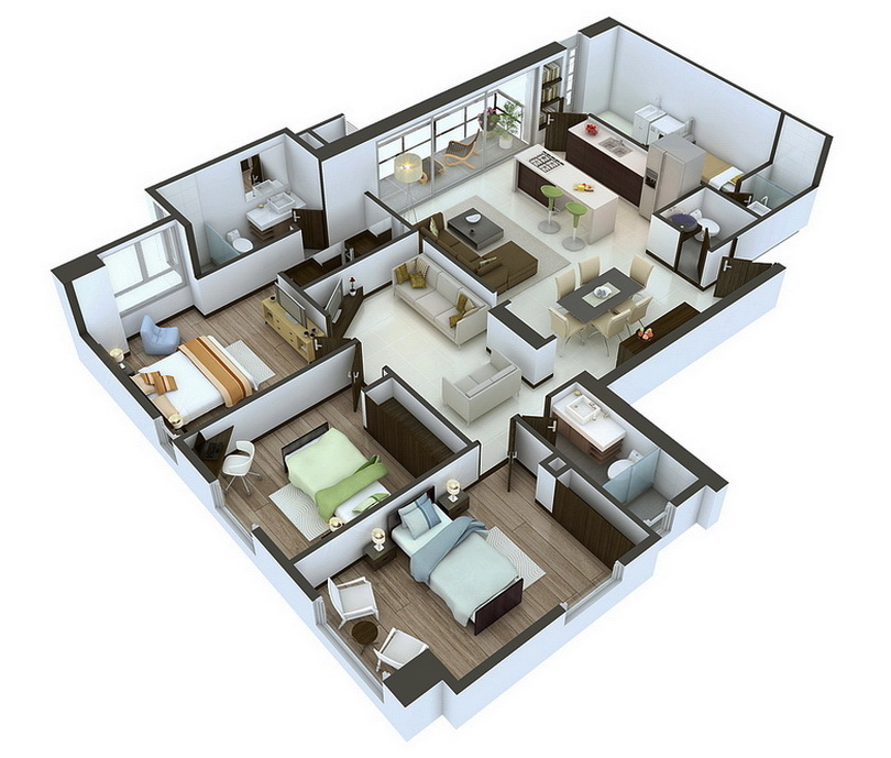 3 bedroom home plans designs. 25 More 3 Bedroom 3D Floor Plans  Cozy dining rooms Outdoor