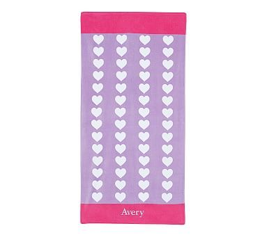 Classic Repeat Heart Towel Lavender Pink With Images Pink