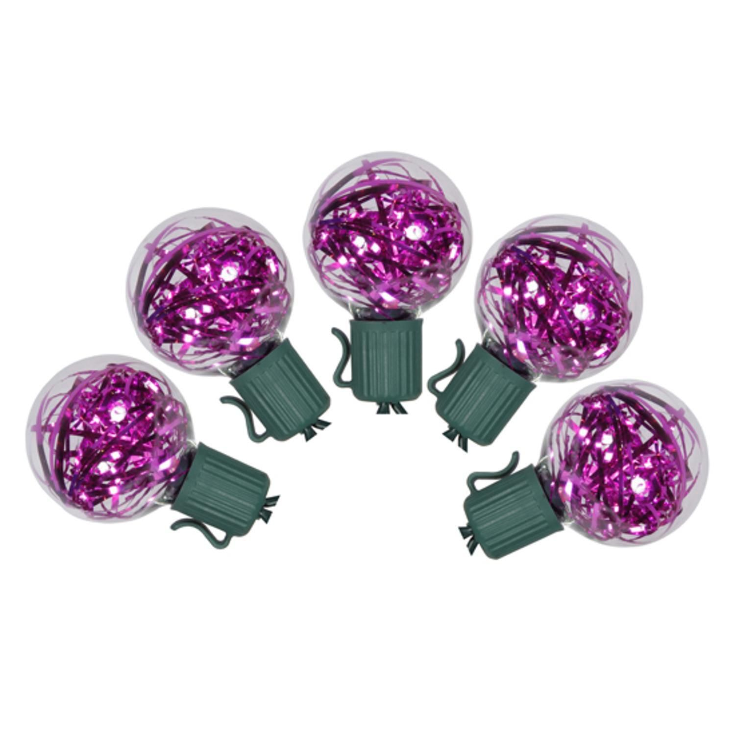 hight resolution of set of 25 pink led g40 tinsel christmas lights green wire