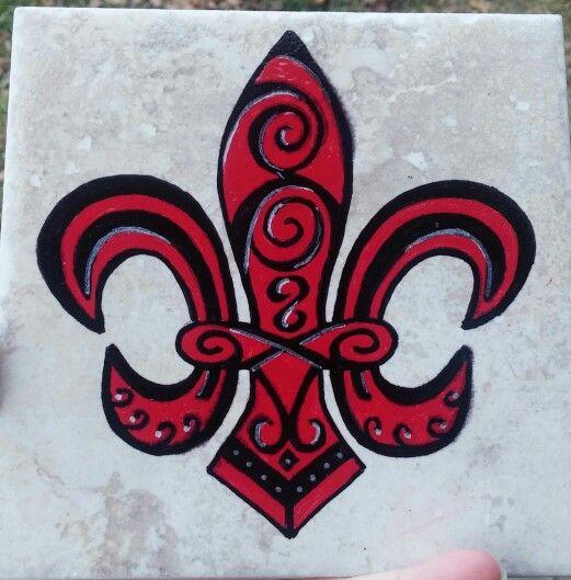 Red Black Fleur De Lis Design Art Art Design