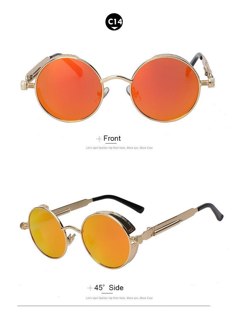Round metal sunglasses steampunk men womenfashion glasses brand