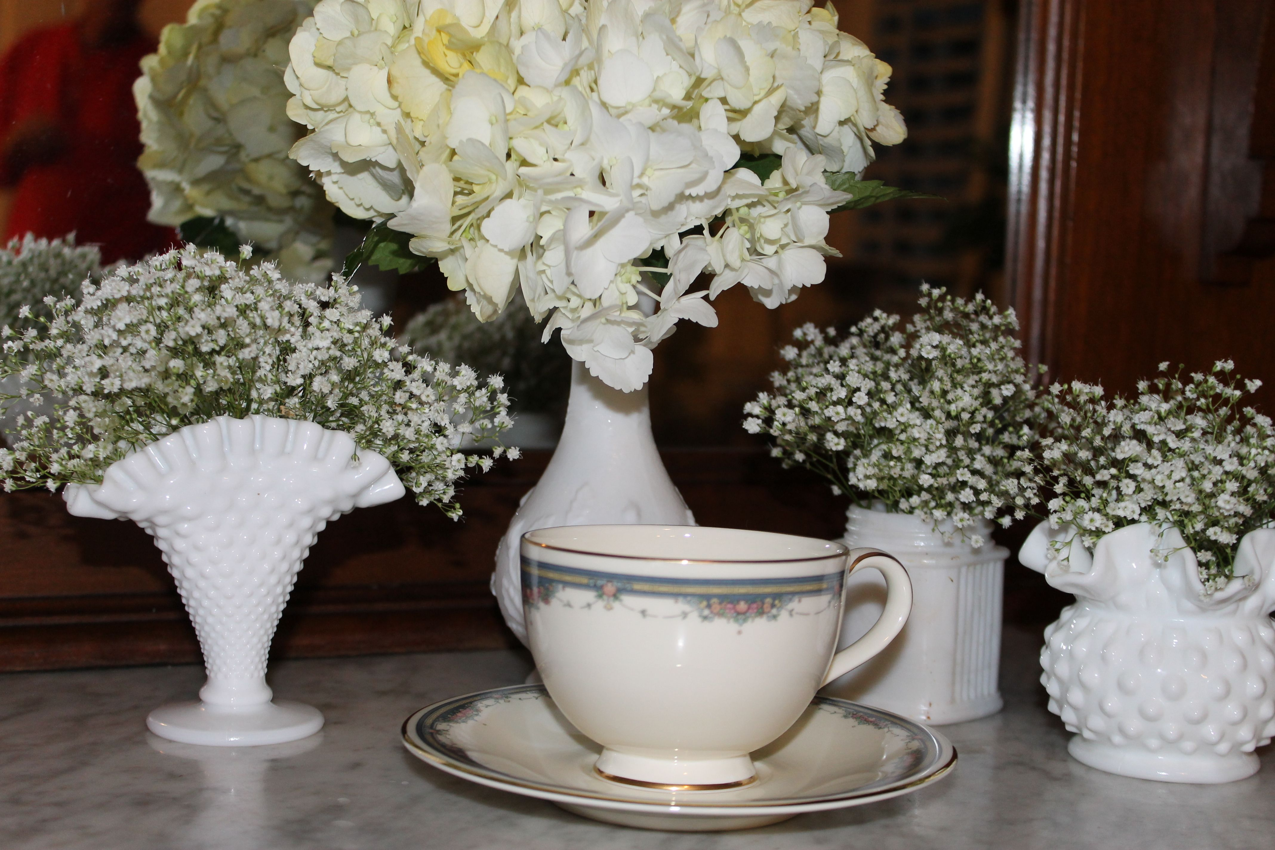 Pretty Milk Glass And China Teacup And Saucer For Vintage