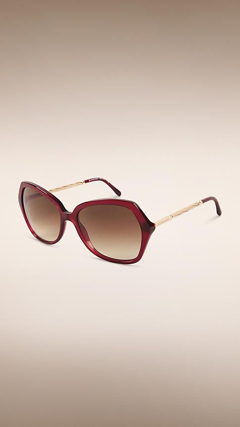 267362ab404f Burberry Oxblood Oversize Square Frame Sunglasses - Oversize square frame  oxblood acetate sunglasses Gold metal twisted gabardine temples are  inspired by ...