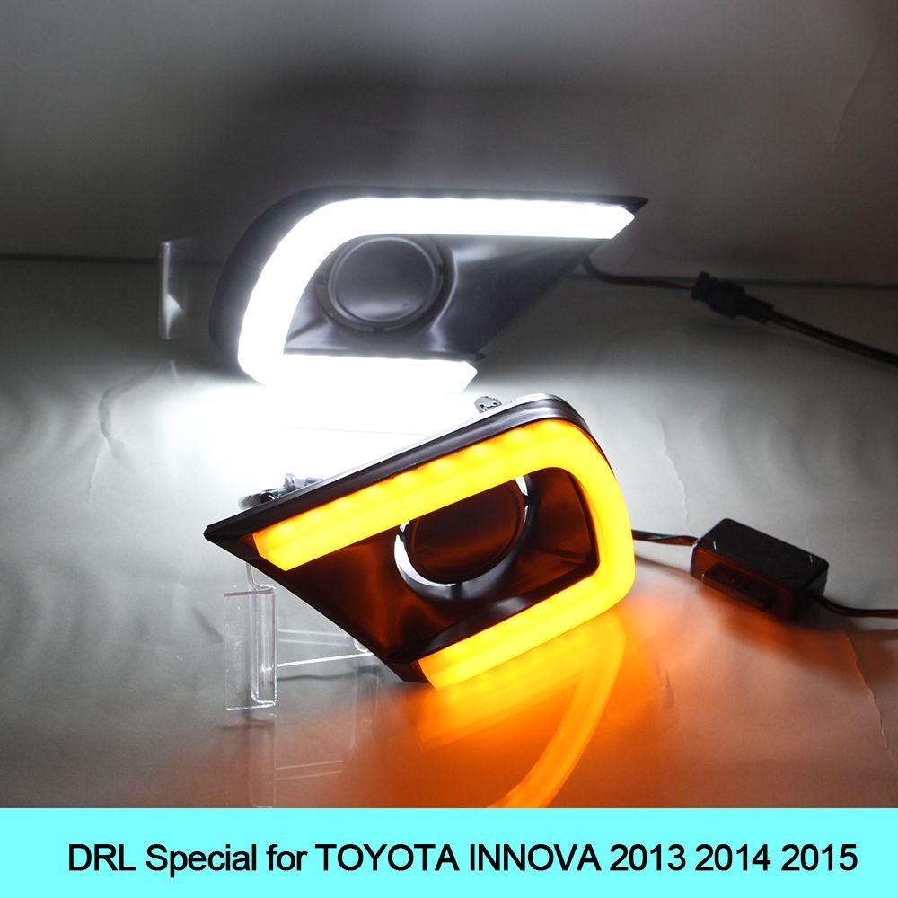Car Drl Kit For Toyota Innova 2013 2014 2015 Daytime Running Light Bar Turn Signal Fog Lamp Bulb Daylight Auto Led Drl Running Lights Toyota Innova Car Lights