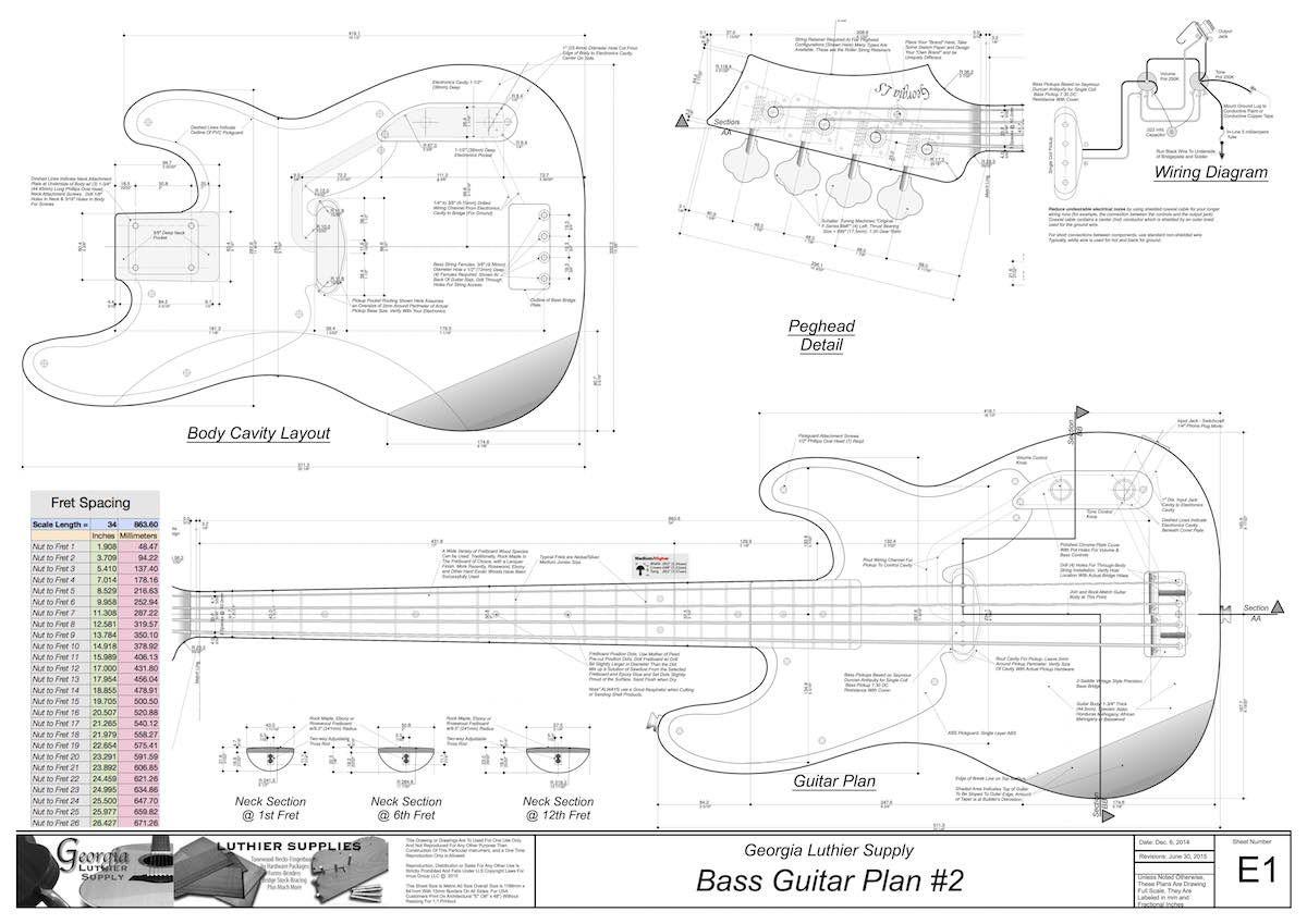 Bass 2 Electric Guitar Plan Electronic Version In 2020 Bass Guitar Body Electric Electric Bass