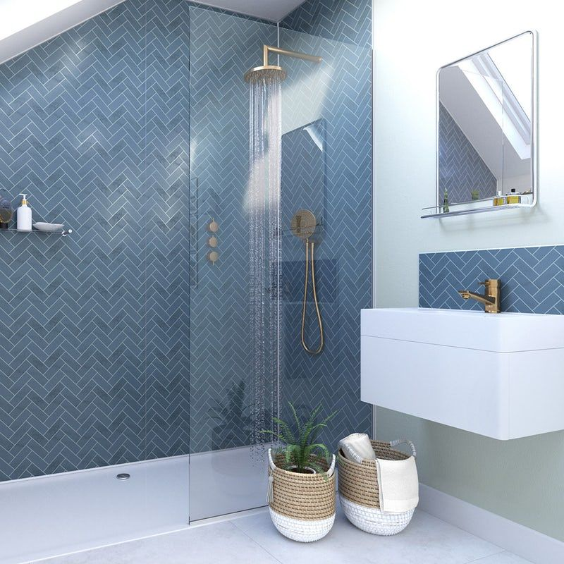 Showerwall Custom Navy Herringbone acrylic shower wall panel #bathroomtileshowers