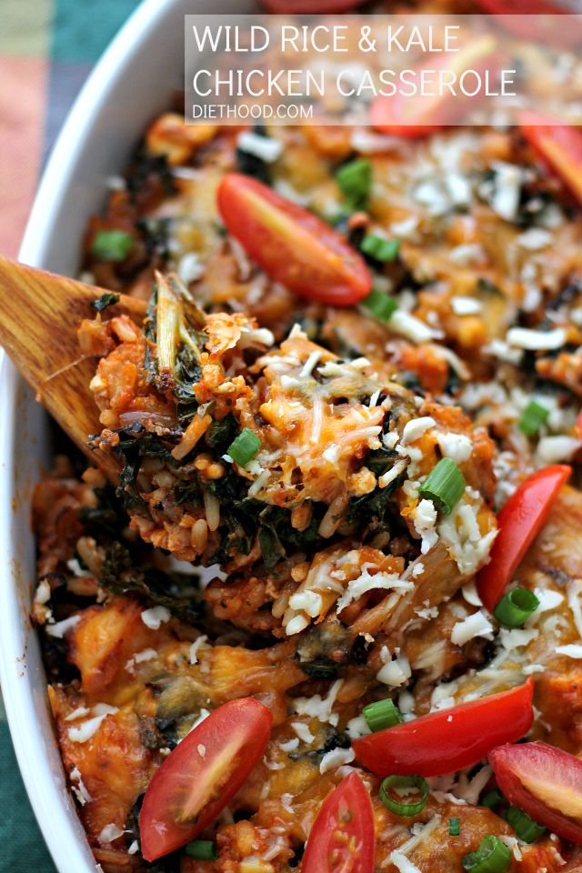 Wild Rice and Kale Chicken Casserole - Hearty and delicious casserole made with chicken, wild rice, kale and a good dose of cheese.
