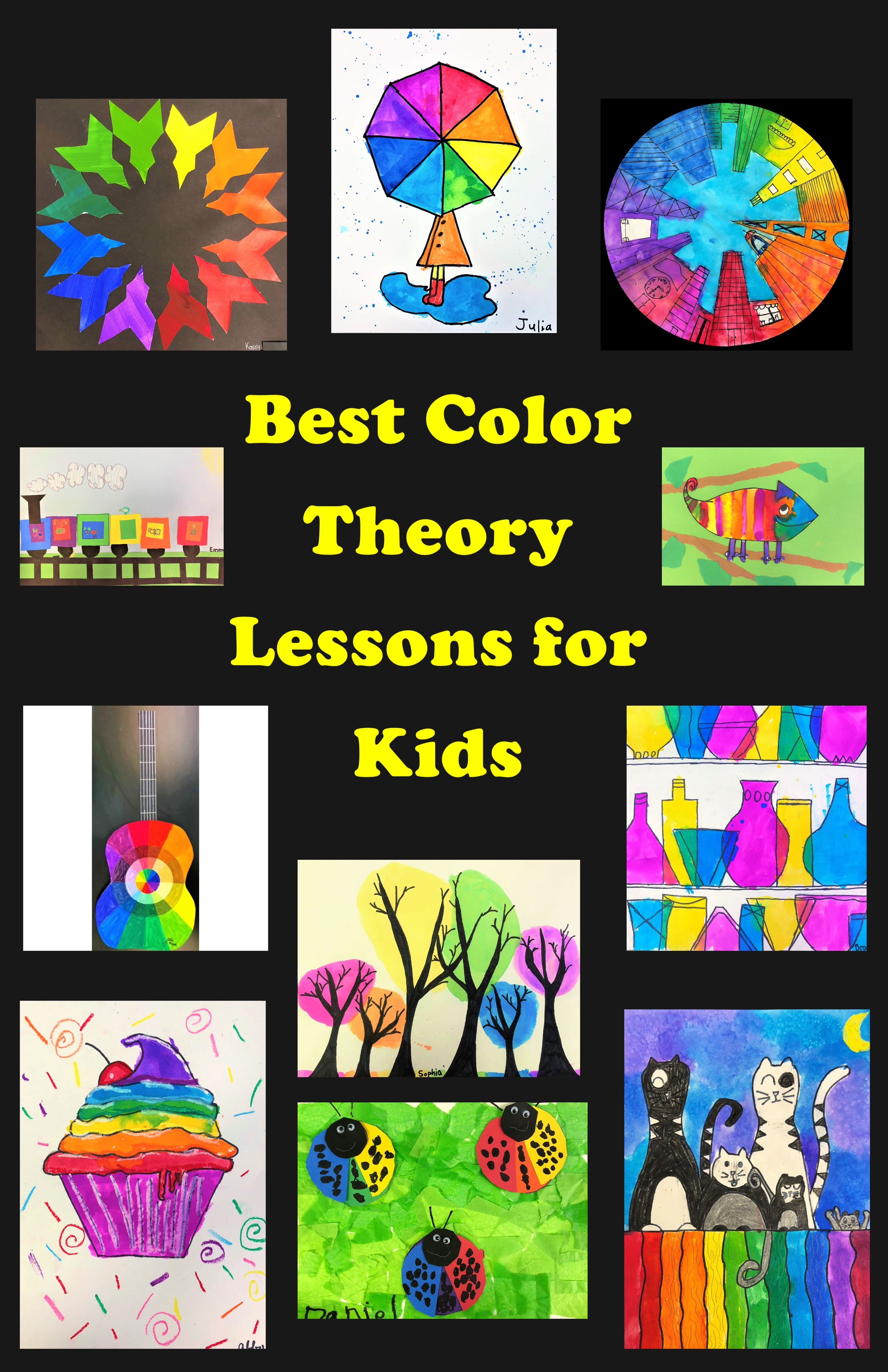 These are my best Color Theory art lessons for kids ages 4-14.  They focus on multiple art elements and principles, and embrace the magic of the rainbow.